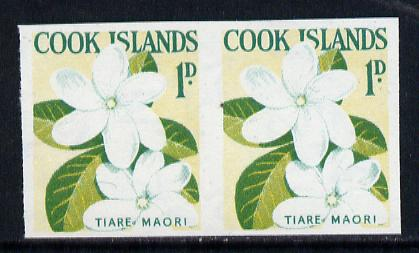 Cook Islands 1963 def 1d Tiare Maori Flower in unmounted mint imperf pair (as SG 163), stamps on flowers