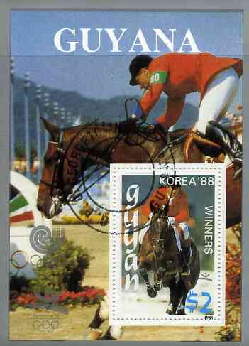 Guyana 1988 Korea '88 $2 m/sheet (Winners - Show Jumping) very fine cto used
