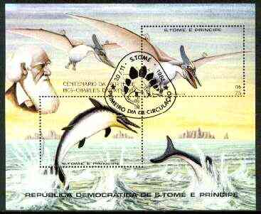 St Thomas & Prince Islands 1982 Death Centenary of Charles Darwin m/sheet (Prehistoric Animals) very fine cto used Mi BL 98