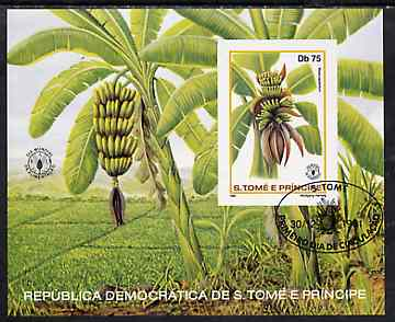 St Thomas & Prince Islands 1981 Fruit imperf 75Db m/sheet (Bananas) very fine cto used Mi BL 79B