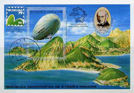St Thomas & Prince Islands 1979 Rowland Hill (Brasiliana & Zeppelin) m/sheet very fine cto used Mi BL 36A
