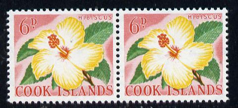 Cook Islands 1963 def 6d Hibiscus Flower in unmounted mint imperf pair (as SG 167)
