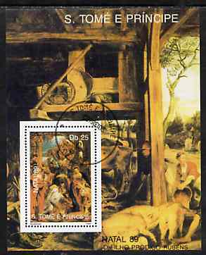 St Thomas & Prince Islands 1989 Christmas 25Db m/sheet (Painting by Rubens) very fine cto used Mi BL 225