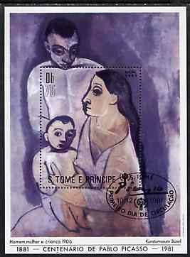 St Thomas & Prince Islands 1981 Birth Centenary of pablo Picasso 75Db m/sheet very fine cto used Mi BL 69A