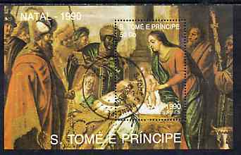 St Thomas & Prince Islands 1990 Christmas 50Db m/sheet (Painting of Adoration) very fine cto used Mi BL 241