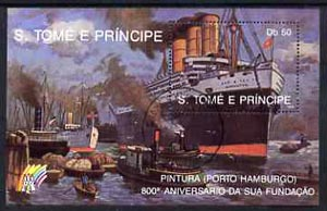 St Thomas & Prince Islands 1989 Ships 50 Db m/sheet (Imperator) very fine cto used Mi BL 201