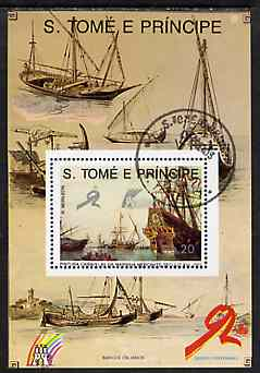 St Thomas & Prince Islands 1989 Ships 20 Db m/sheet #1 (16th Cent Merchantman) very fine cto used Mi BL 203