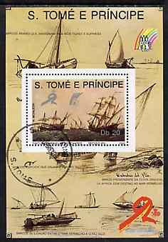 St Thomas & Prince Islands 1989 Ships 20 Db m/sheet #2 (16th Cent Merchantman) very fine cto used Mi BL 204