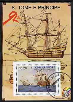 St Thomas & Prince Islands 1989 Ships 20 Db m/sheet #3 (18th Cent Merchantman) very fine cto used Mi BL 205