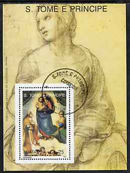 St Thomas & Prince Islands 1989 Christmas 25Db m/sheet (Painting by Raphael) very fine cto used Mi BL 224