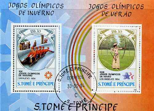 St Thomas & Prince Islands 1983 Olympic Games m/sheet (Bobsled & Archery) fine cto used, Mi BL 142A