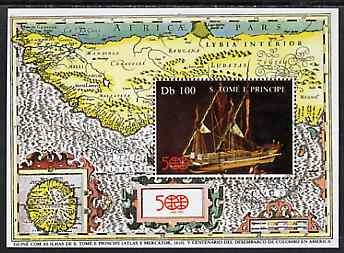 St Thomas & Prince Islands 1992 500th Anniversary of Discovery of America m/sheet (Model Boat & Map) very fine cto used