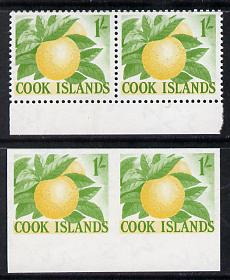 Cook Islands 1963 def 1s Oranges in unmounted mint imperf pair plus normal pair (as SG 169)