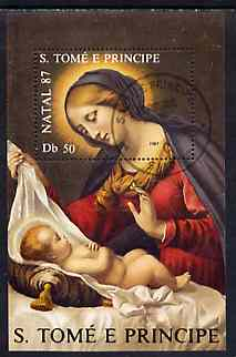 St Thomas & Prince Islands 1987 Christmas 50Db m/sheet (Madonna & Child) very fine cto used Mi BL 175