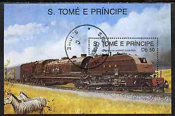 St Thomas & Prince Islands 1989 Locomotives 50Db m/sheet (Garratt) very fine cto used Mi BL 208