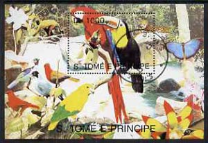 St Thomas & Prince Islands 1993 Fauna 1000Db m/sheet (Parrots etc) very fine cto used