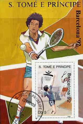 St Thomas & Prince Islands 1989 Barcelona '92 5Db m/sheet (Tennis) very fine cto used Mi BL 199