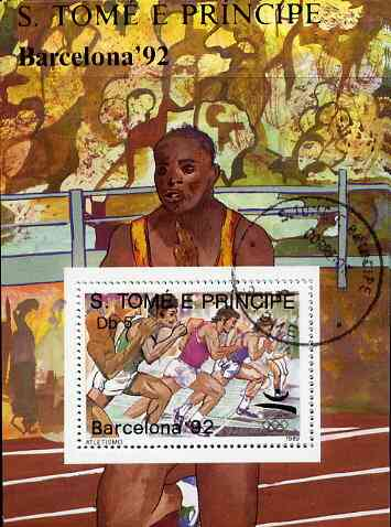 St Thomas & Prince Islands 1989 Barcelona '92 5Db m/sheet (Running) very fine cto used Mi BL 197
