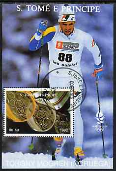 St Thomas & Prince Islands 1992 Albertville Winter Olympics '92 Skiing 50Db m/sheet #2 (Torgny Mogren) very fine cto used