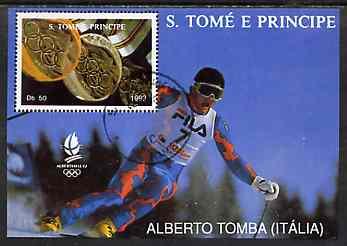 St Thomas & Prince Islands 1992 Albertville Winter Olympics '92 Skiing 50Db m/sheet #3 (Alberto Tomba) very fine cto used