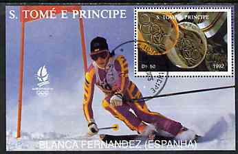 St Thomas & Prince Islands 1992 Albertville Winter Olympics '92 Skiing 50Db m/sheet #4 (Blanca Fernandez) very fine cto used