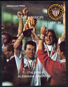 St Thomas & Prince Islands 1990 Football World Cup 50Db perf m/sheet (German Team Holding Trophy) very fine cto used