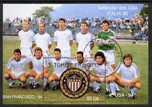 St Thomas & Prince Islands 1990 Football World Cup 50Db perf m/sheet (USA Team & Emblem) very fine cto used