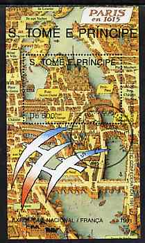 St Thomas & Prince Islands 1991 French Exposition 500Db m/sheet (Early Map) very fine cto used, Mi BL 265