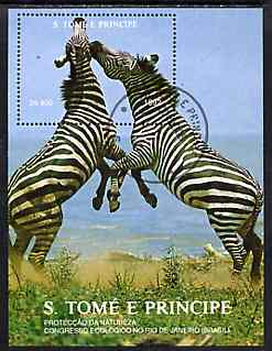 St Thomas & Prince Islands 1992 Nature Protection Congress 800Db m/sheet (Zebras) very fine cto used