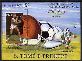 St Thomas & Prince Islands 1988 10th Anniversary of DGD 50Db m/sheet (Tennis) very fine cto used