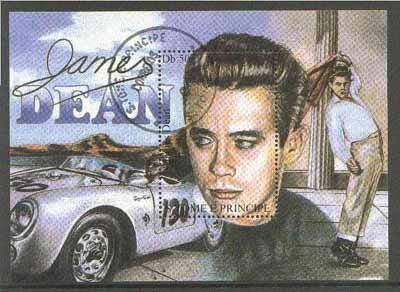 St Thomas & Prince Islands 1988? James Dean 50Db m/sheet (Dean with Racing Car) very fine cto used