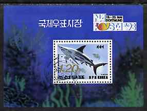 North Korea 1993 Fish m/sheet (1.2wn shark) with NAPOSTA 93 imprint, SG MS N3252 fine cto used