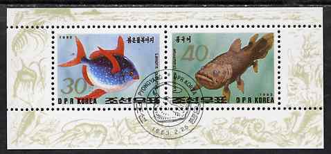 North Korea 1993 Fish sheetlet containing 30ch & 40ch values very fine cto used