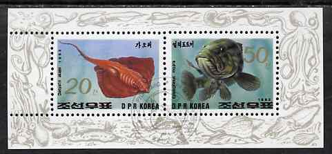 North Korea 1993 Fish sheetlet containing 20ch & 50ch values very fine cto used