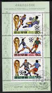 North Korea 1993 Football World Cup sheetlet #2 containing 20ch, 50ch & 70ch values, fine cto used