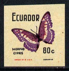 Ecuador 1970 Butterflies 80c (Morpho Cypris) unmounted mint imperf with uncoloured background (as SG 1396)*