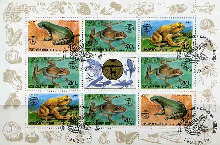 North Korea 1992 Frogs & Toads sheetlet containing 8 x 40ch values plus label very fine cto used, see after SG N3199