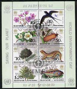 North Korea 1992 World Environment Day sheetlet containing complete set of 8 values very fine cto used, see after SG N3207