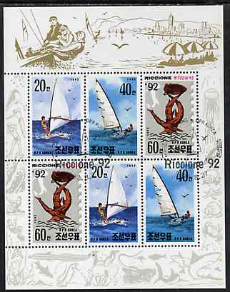 North Korea 1992 Riccione 92 Stamp Fair (Yachts) sheetlet #1 containing 2 each of 20ch, 40ch & 60ch values very fine cto used, see after SG N3180