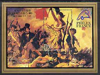 North Korea 1989 Philexfrance 89 Stamp Exhibition m/sheet (Liberty by Delacroix) very fine cto used, SG MS N2886