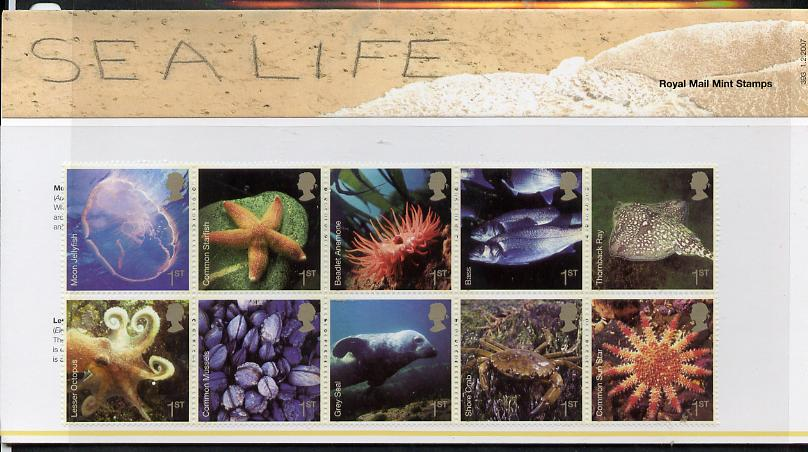 Great Britain 2007 Sea life perf set of 10 values in official presentation pack unmounted mint SG 2699a