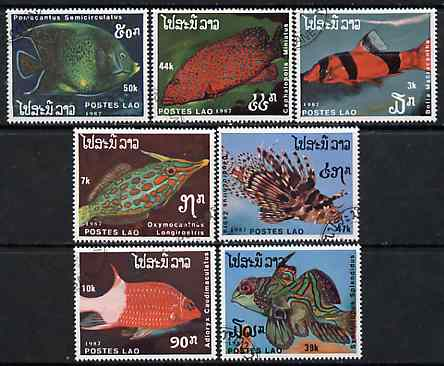 Laos 1987 Fishes complete set of 7 fine cto used, SG 1024-30*