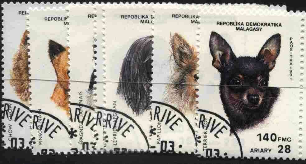 Malagasy Republic 1991 Dogs complete set of 7 very fine cto used, SG 854-60*