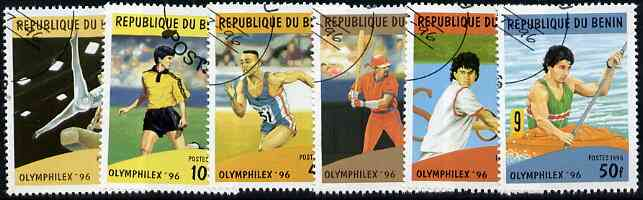 Benin 1996 Olymphilex '96 Stamp Exhibition perf set of 6 very fine cto used, SG 1400-1405
