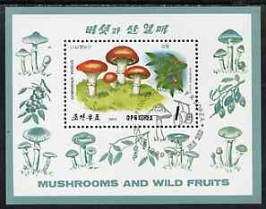 North Korea 1989 Fungi & Fruit 1wn m/sheet very fine cto used, SG MS N2859