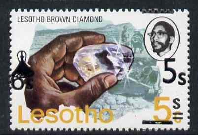 Lesotho 1980 5s on 6c on 5c brown Diamond unmounted mint with obliterating bars misplaced (one at top & one at bottom) SG 410Avar