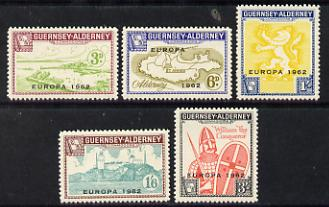 Guernsey - Alderney 1962 Europa overprint on def set of 5 unmounted mint, Rosen CSA 1-5