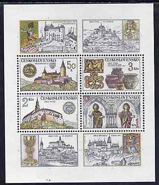 Czechoslovakia 1982 Castles unmounted mint m/sheet containing set of 4 values plus 4 labels, SG MS 2636, Mi BL 50