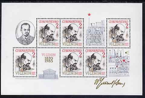 Czechoslovakia 1985 Birth Anniversary of Lenin unmounted mint m/sheet, SG MS 2773, Mi BL 62