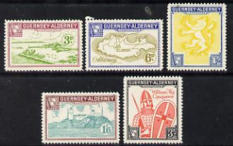 Guernsey - Alderney 1962 defs set of 5 (Lighthouse & Harbour, Map, Arms & William the Conqueror) unmounted mint